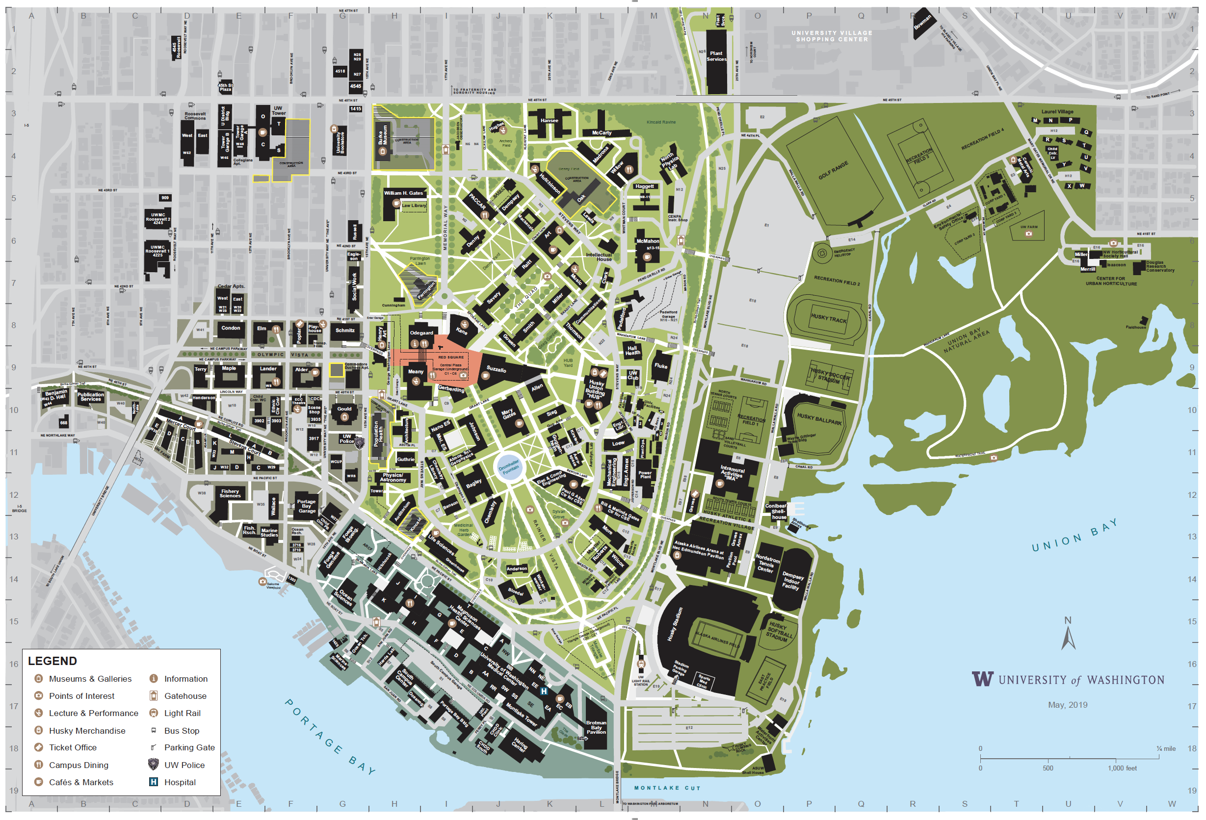 university washington campus map Campus Map University Of Washington Online Visitor S Guide
